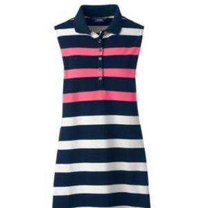 Lands End Sleeveless Polo Dress Rose Petal Stripe